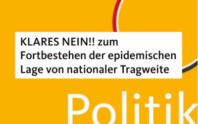 Persönliche Erklärung zur Feststellung des Fortbestehens der epidemischen Lage von nationaler Tragweite